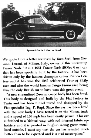 Special Frazer Nash from SCCA Newsletter, 5/31/53